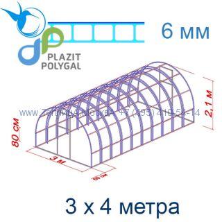 Теплица Богатырь Люкс 3 х 4 с поликарбонатом 6 мм Polygal