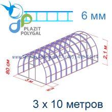Теплица Богатырь Цинк 3 х 10 с поликарбонатом 6 мм Актуаль BIO