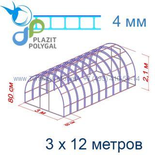 Теплица Богатырь Цинк 3 х 12 с поликарбонатом 4 мм Актуаль BIO