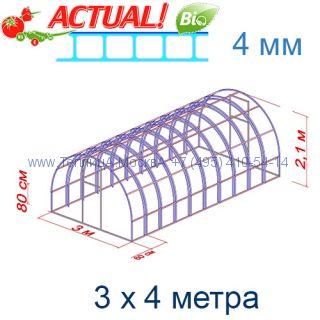 Теплица Богатырь Цинк 3 х 4 с поликарбонатом 6 мм Polygal