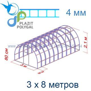 Теплица Богатырь Цинк 3 х 8 с поликарбонатом 4 мм Актуаль BIO