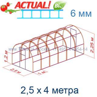 Теплица Кремлевская Люкс 2,5 х 4 с поликарбонатом 6 мм Актуаль BIO