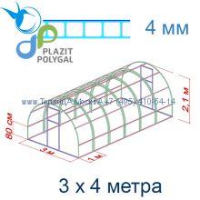Теплица Кремлевская Люкс 3 х 4 с поликарбонатом 4 мм Polygal
