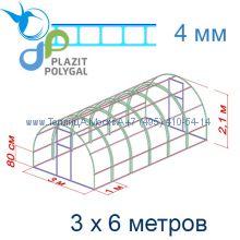 Теплица Кремлевская Люкс 3 х 6 с поликарбонатом 4 мм Polygal