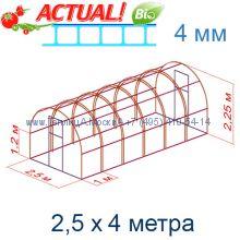 Теплица Кремлевская Премиум 2,5 х 4 с поликарбонатом 4 мм Актуаль BIO