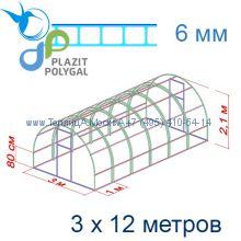 Теплица Кремлевская Премиум 3 х 12 с поликарбонатом 6 мм Polygal