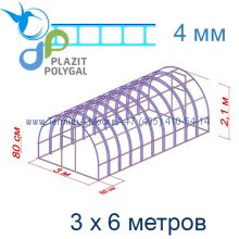 Теплица Богатырь Премиум 3 х 6 с поликарбонатом 4 мм Polygal
