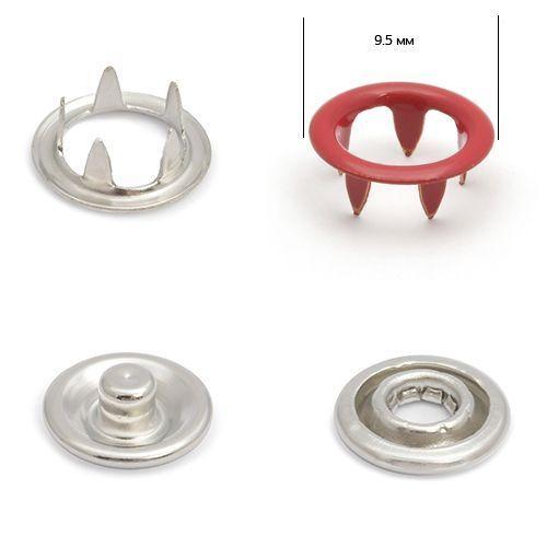 Кнопка трикотажная №148 (кольцо) цв.красный нерж 9,5мм эмаль NewStar