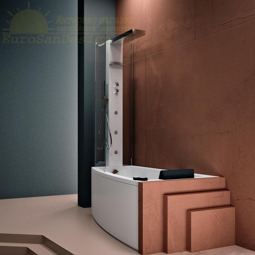 Стеклянная ванна с душевой колонной Gruppo Treesse Asyx Box Top V8261 + B8220 160x90 ФОТО