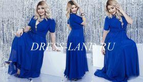 Синее платье в пол с короткими рукавами