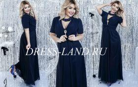 Темно-синее платье в пол с короткими рукавами