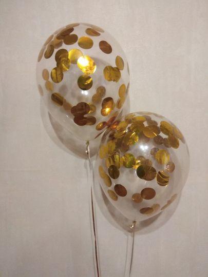 Шар с однотонным металлизированным круглым крупным конфетти латексный с гелием (золото или серебро)