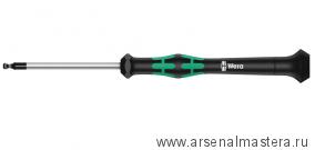 Отвертка шестигранная WERA Kraftform Micro 2052 сферическая головка для электроники 2.5x60 мм, 118094