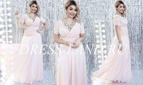 Розовое вечернее платье с короткими рукавами