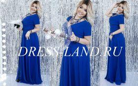 Синее вечернее платье с короткими рукавами