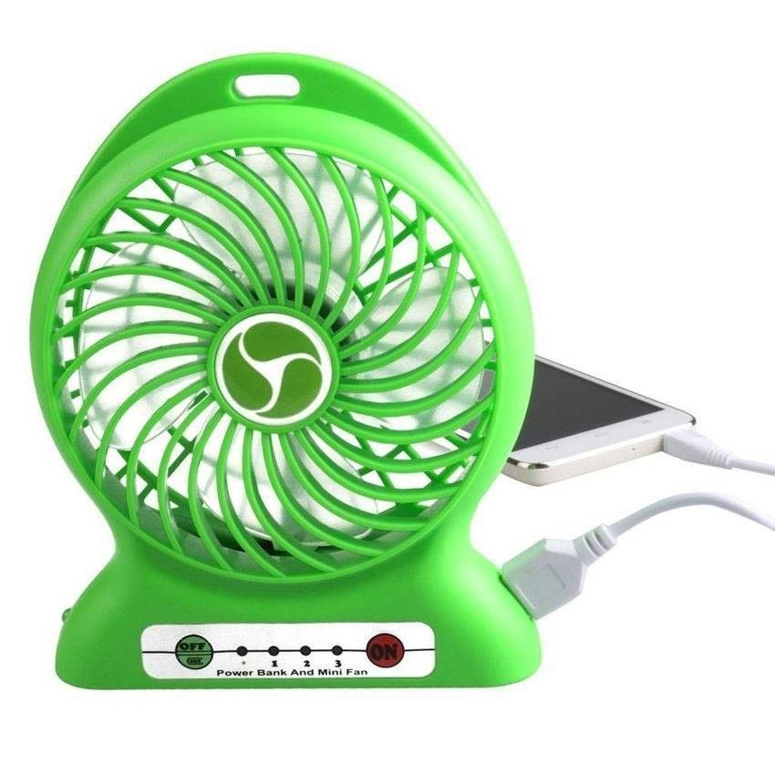 USB-вентилятор Portable Lithium Battery Fan (Цвет: Зеленый)