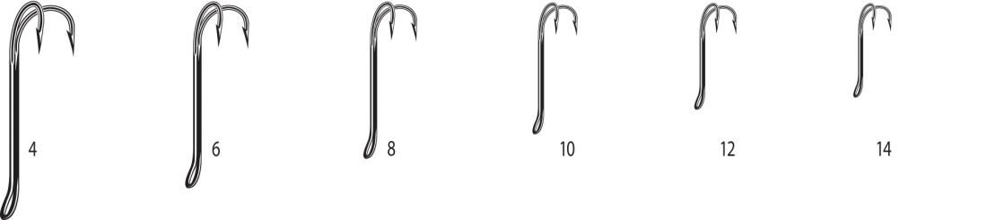 Двойники Cannelle 2008 W № 8 уп.1000 шт. (черный,кованный,длинное цевье,спаянный,для нахлыста)
