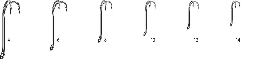 Двойники Cannelle 2008 W № 6 уп.1000 шт. (черный,кованный,длинное цевье,спаянный,для нахлыста)
