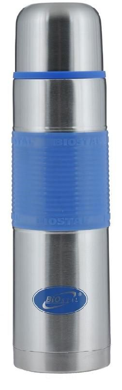 Термос BIOSTAL NB1000P с кнопкой, синяя резин. вставка (узкое горло)