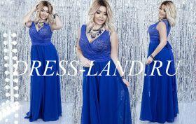 Синее вечернее платье с V-образным вырезом