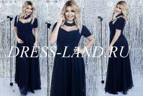 Темно-синее вечернее платье с драпировкой на лифе