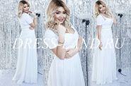 Белое вечернее платье с драпировкой на лифе