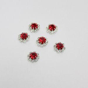 Кабошон со стразами, круглый, цвет основы: серебро, цвет стразы: красный, размер: 12мм (1уп = 10шт)
