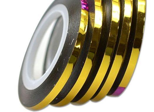 Лента для дизайна широкая 3 мм золото