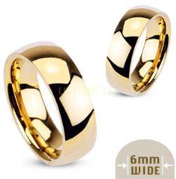 Позолоченное стальное кольцо Spikes шириной 6 мм (подходит для гравировки) (арт. 280146)