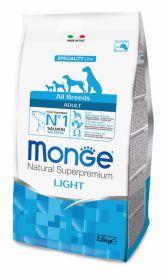 Monge Dog Speciality Light корм для собак всех пород низкокалорийный лосось с рисом 2,5 кг