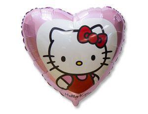 Шар гелиевый сердце HELLO KITTY