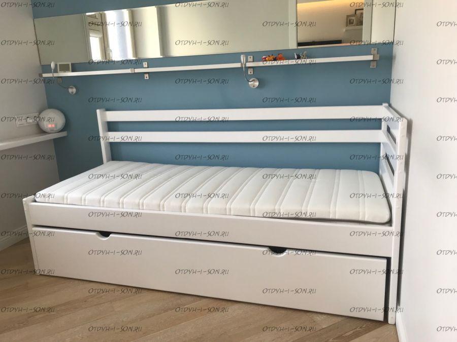 Кровать двухъярусная Дуэт 1 выкатная (с низкой второй спинкой) ВМК Шале