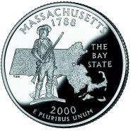 25 центов США 2000г - Массачусетс, UNC - Серия Штаты и территории