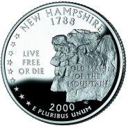 25 центов США 2000г - Нью-Гэмпшир, UNC - Серия Штаты и территории