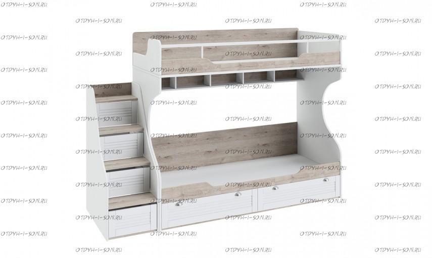 Кровать двухъярусная Ривьера СМ 241.11.12 с приставной лестницей