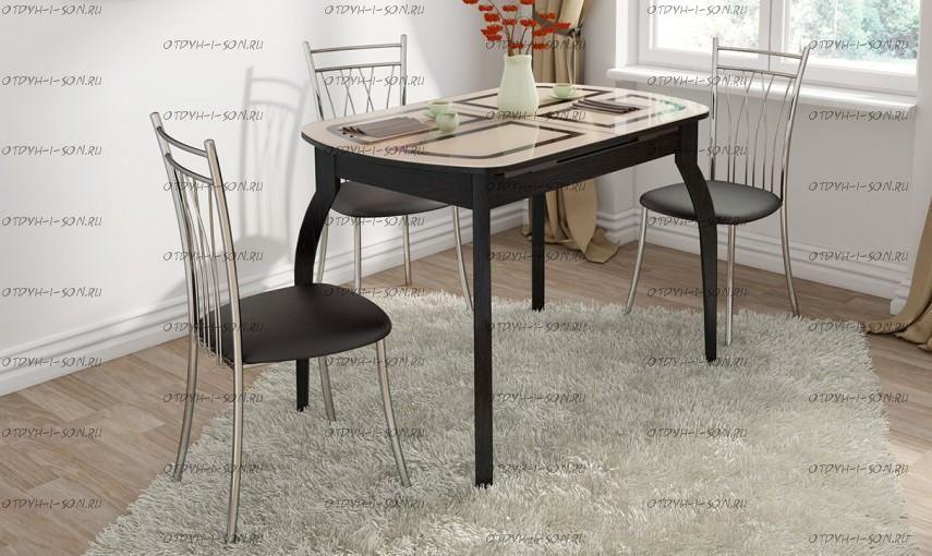Обеденная группа: стол Милан СМ-203.23.15 + стулья Премьер коричневые