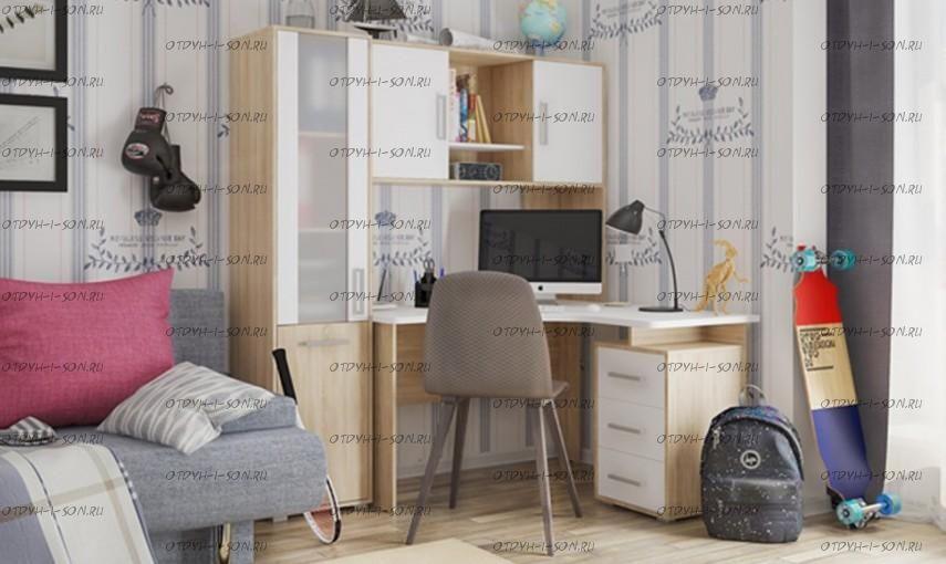 Компьютерный стол угловой с надстройкой и стеллажем Лайт-2