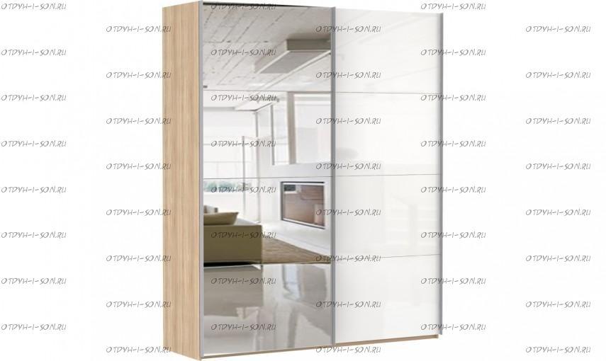 Шкаф-купе Эста, 2 двери, зеркало / стекло белое