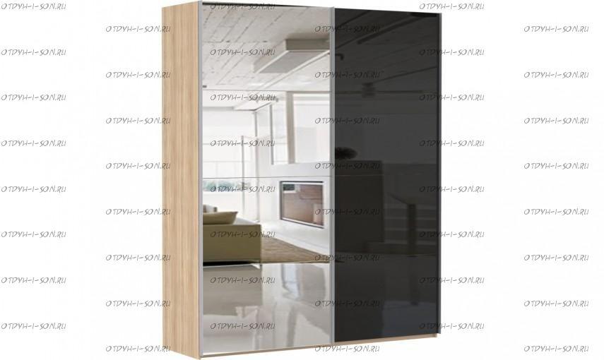 Шкаф-купе Эста, 2 двери, зеркало / стекло черное