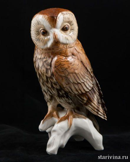 Фарфоровая статуэтка Большая сова. Karl Ens, Германия.