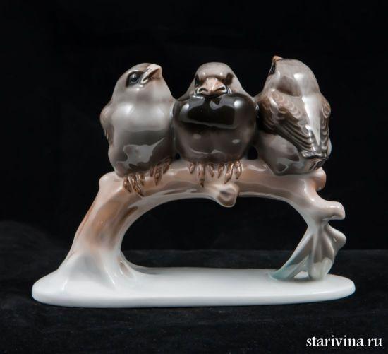 Фарфоровая статуэтка Три воробья на ветке. Rosenthal, Германия.