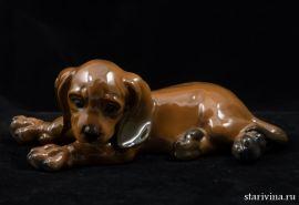 Лежащий щенок таксы, редкий, Rosenthal, Германия, 1970-е