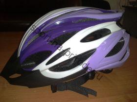 Велошлем взрослый с регулировкой размера. Цвет бело фиолетовый. Вес 230 гр.