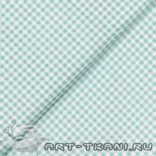 Ткань Хлопок Мятная клетка 50x40