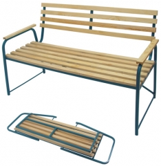 Скамейка садовая  со спинкой металл,,дерево,складная 120*82*50 см  (Пэмби)