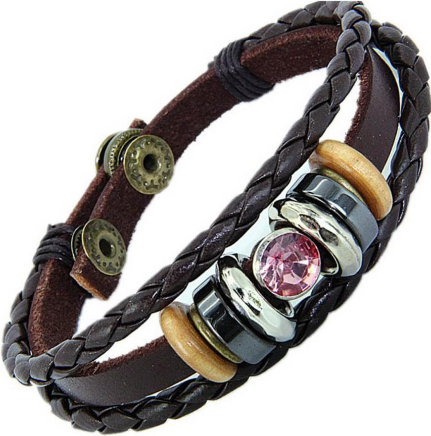 Кожаный браслет с декором