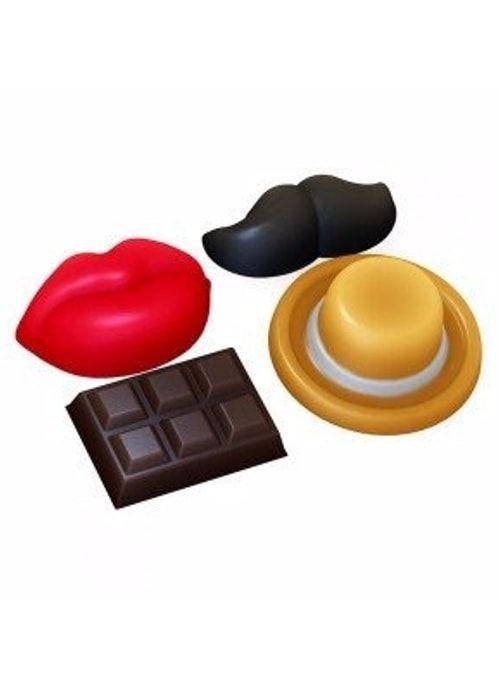 Пластиковая форма усы губы шоколадка шляпа