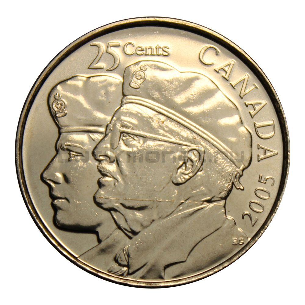 25 центов 2005 Канада Год Ветеранов