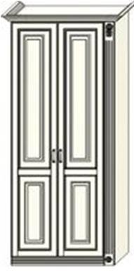 Шкаф двухдверный  Ферсия  с одной пилястрой справа, для белья (модуль 25)