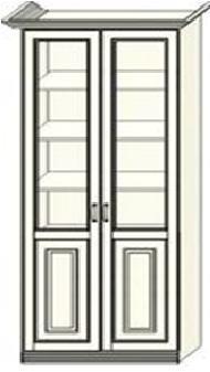 Шкаф-витрина двухдверный Ферсия, верхние полки стекло (модуль 27)